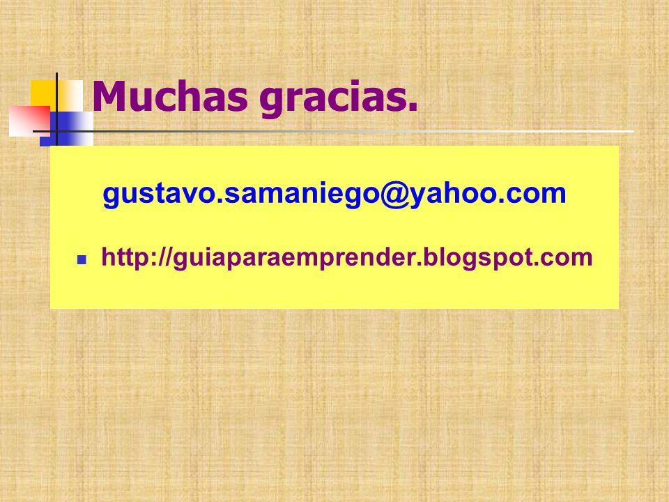 Muchas gracias. gustavo.samaniego@yahoo.com