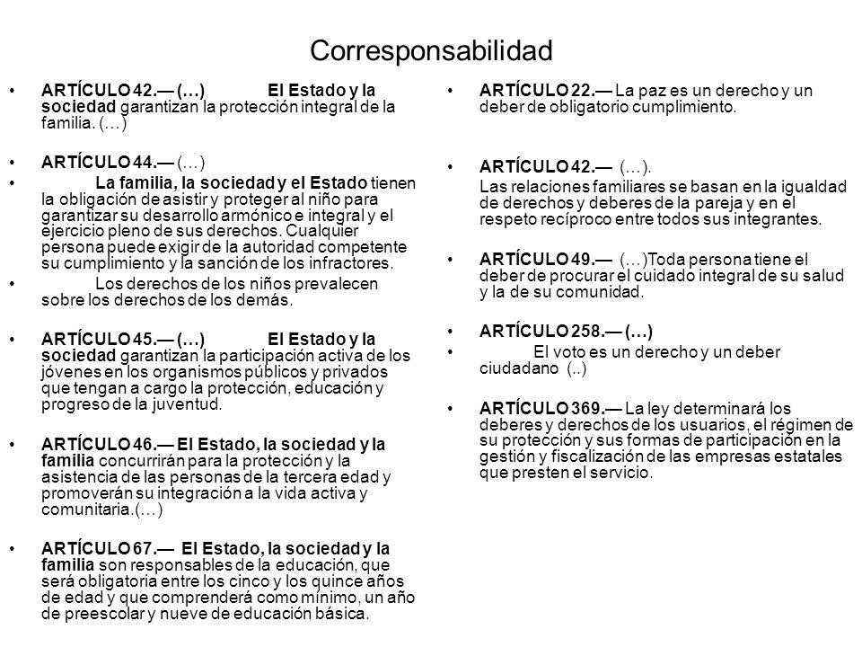 Corresponsabilidad ARTÍCULO 42.— (…) El Estado y la sociedad garantizan la protección integral de la familia. (…)