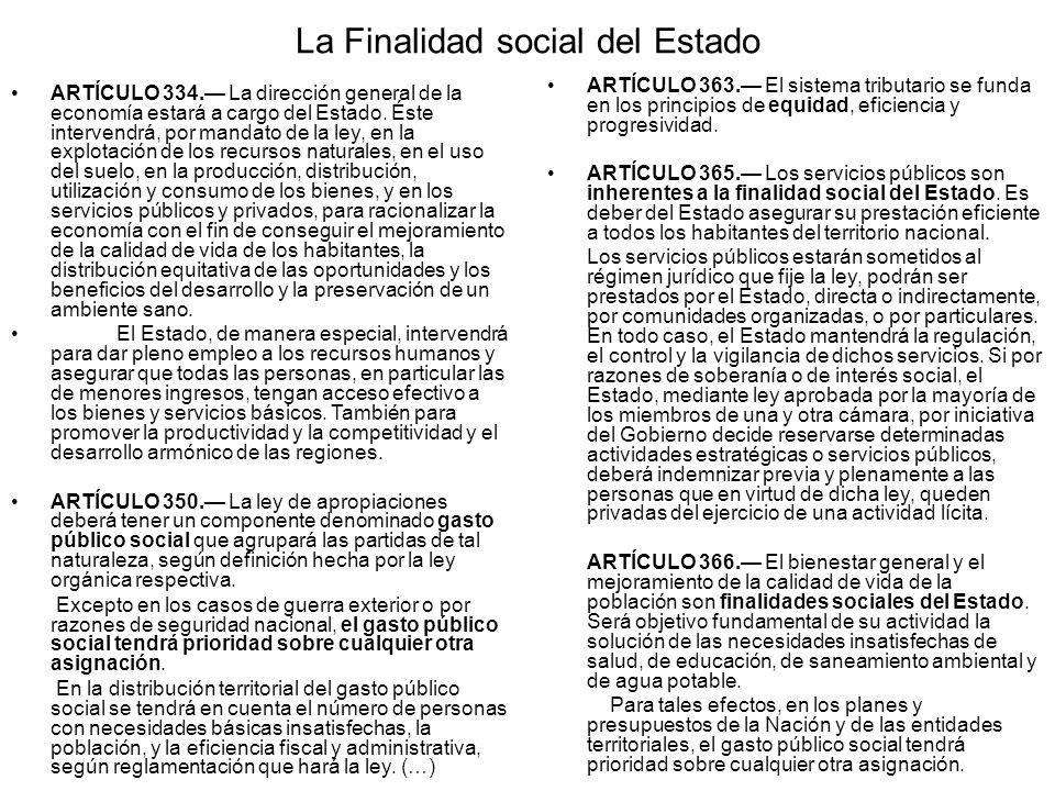 La Finalidad social del Estado