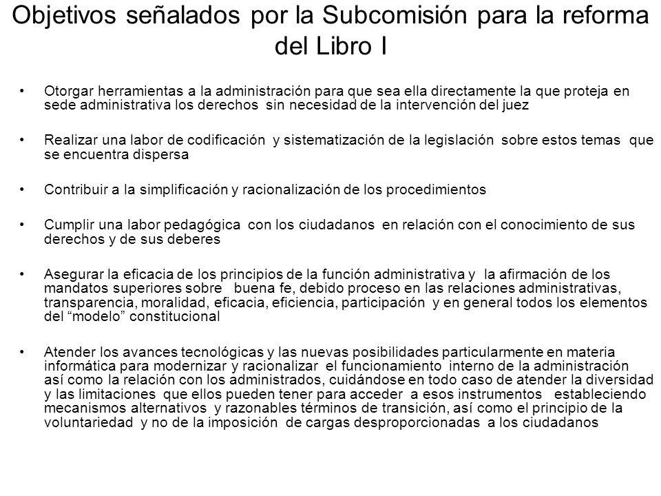 Objetivos señalados por la Subcomisión para la reforma del Libro I