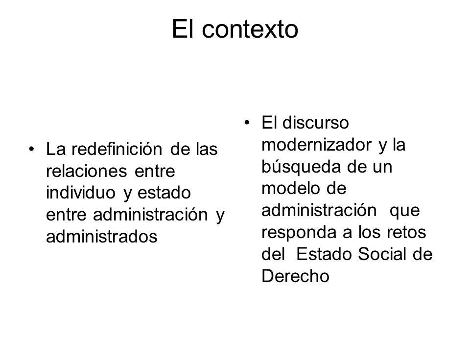 El contexto La redefinición de las relaciones entre individuo y estado entre administración y administrados.