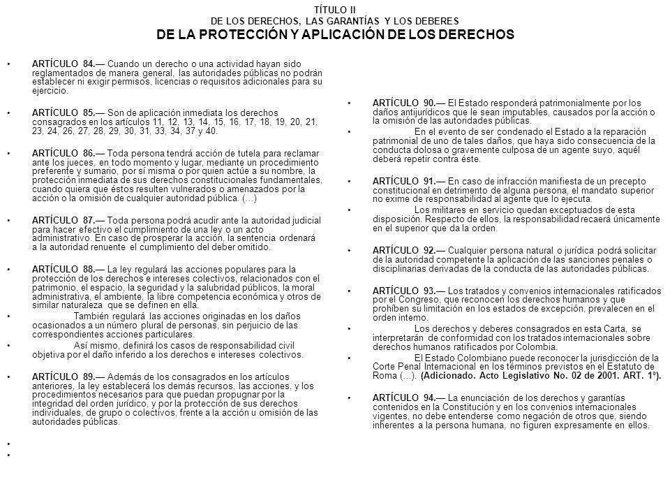 TÍTULO II DE LOS DERECHOS, LAS GARANTÍAS Y LOS DEBERES DE LA PROTECCIÓN Y APLICACIÓN DE LOS DERECHOS