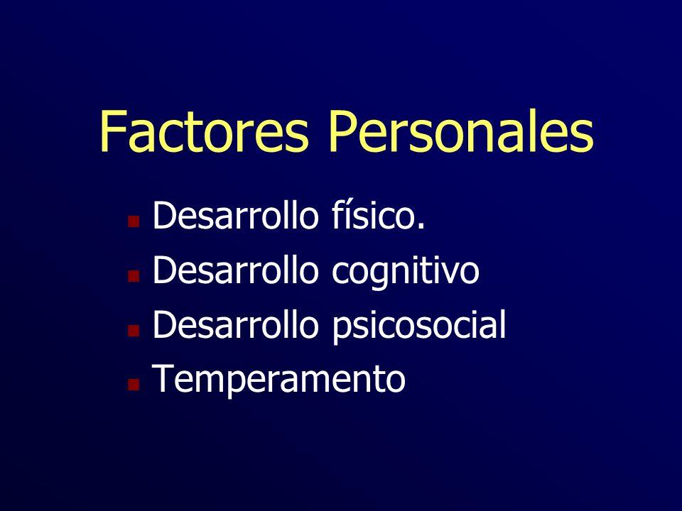 Factores Personales Desarrollo físico. Desarrollo cognitivo