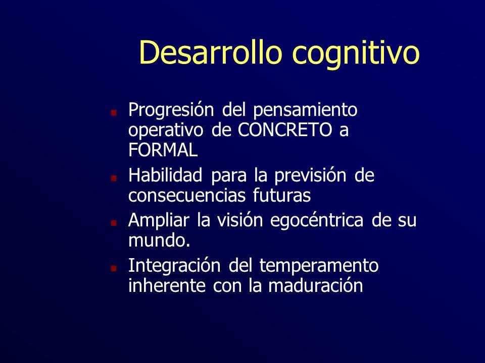 Desarrollo cognitivo Progresión del pensamiento operativo de CONCRETO a FORMAL. Habilidad para la previsión de consecuencias futuras.