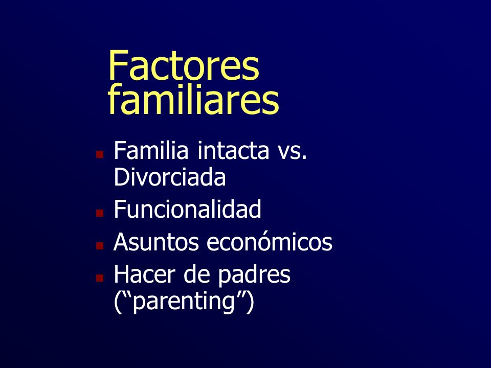 Factores familiares Familia intacta vs. Divorciada Funcionalidad