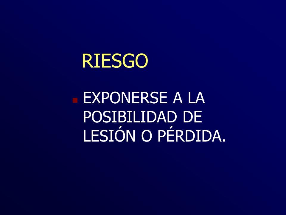 RIESGO EXPONERSE A LA POSIBILIDAD DE LESIÓN O PÉRDIDA.