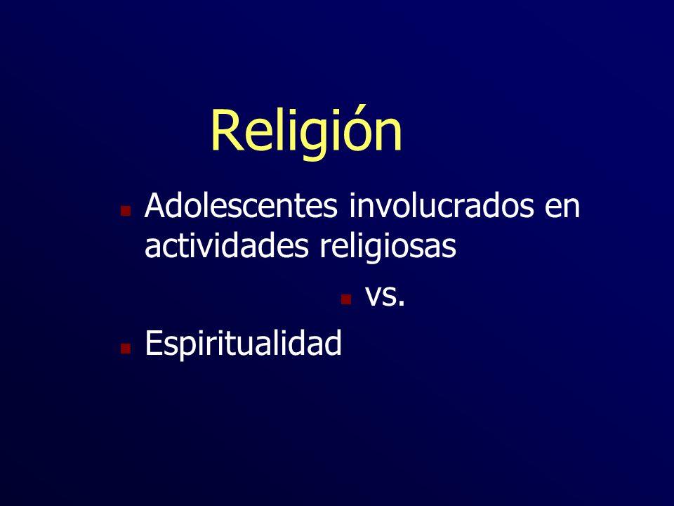 Religión Adolescentes involucrados en actividades religiosas vs.