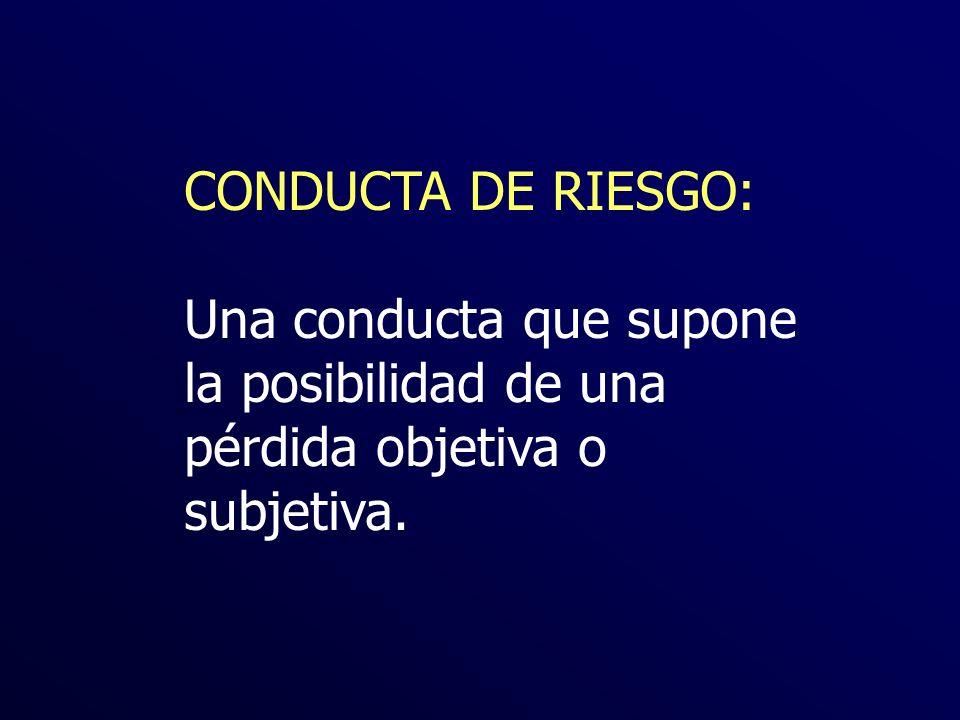 CONDUCTA DE RIESGO: Una conducta que supone la posibilidad de una pérdida objetiva o subjetiva.