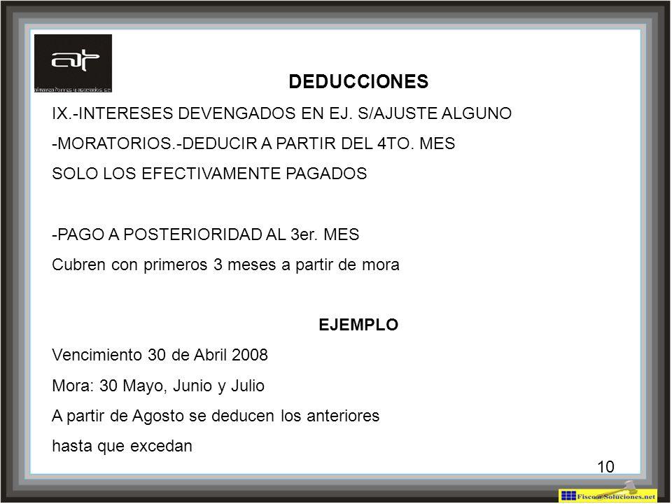 DEDUCCIONES IX.-INTERESES DEVENGADOS EN EJ. S/AJUSTE ALGUNO