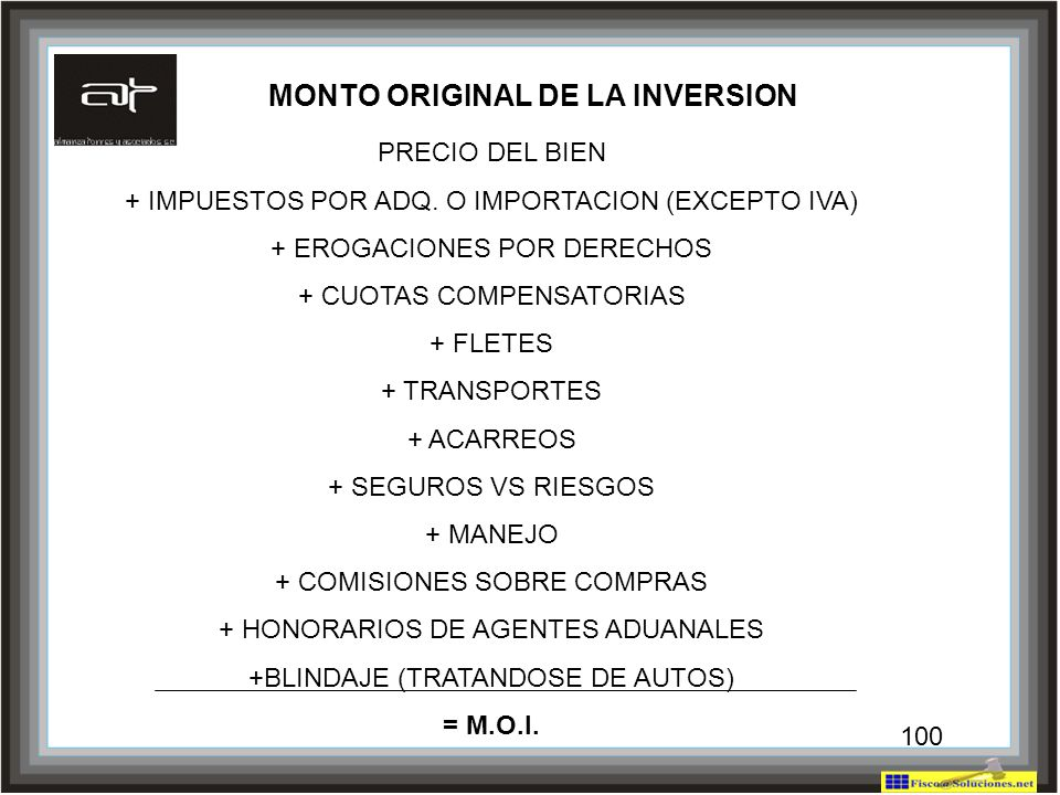 MONTO ORIGINAL DE LA INVERSION