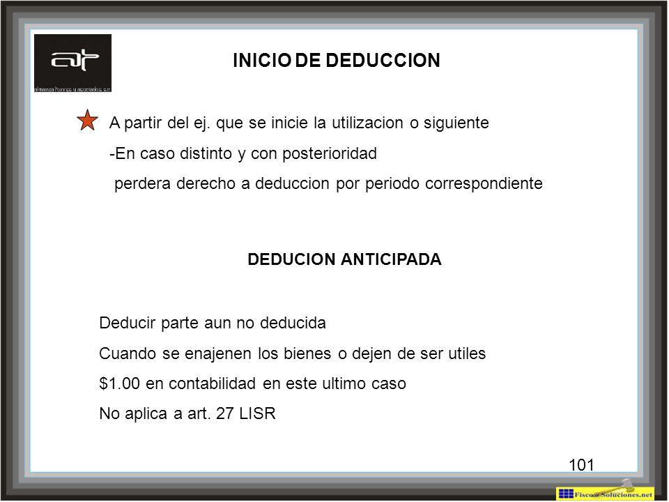 INICIO DE DEDUCCION A partir del ej. que se inicie la utilizacion o siguiente. -En caso distinto y con posterioridad.