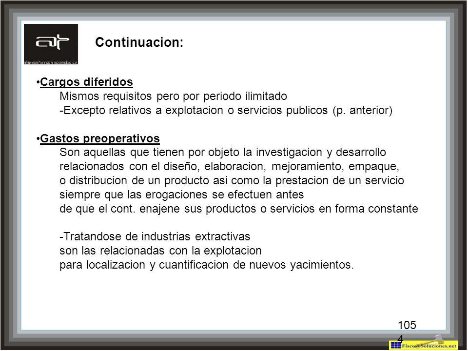 Continuacion: Cargos diferidos