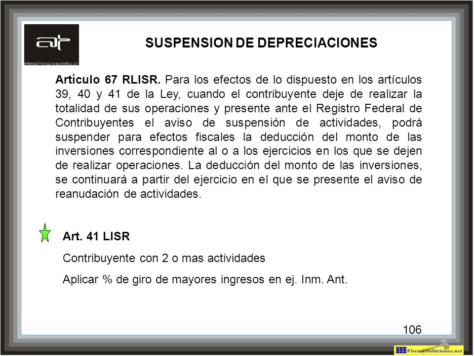 SUSPENSION DE DEPRECIACIONES