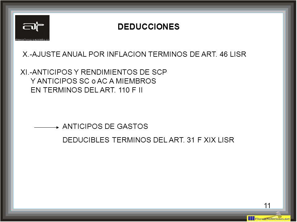 DEDUCCIONES X.-AJUSTE ANUAL POR INFLACION TERMINOS DE ART. 46 LISR