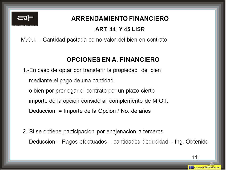 ARRENDAMIENTO FINANCIERO OPCIONES EN A. FINANCIERO