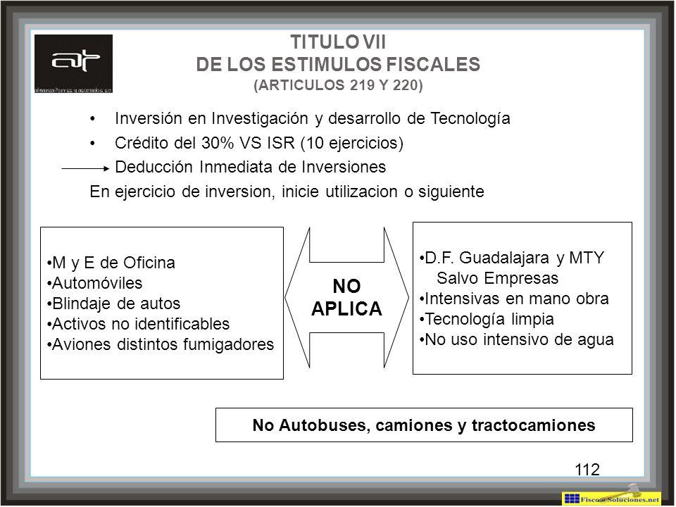 TITULO VII DE LOS ESTIMULOS FISCALES (ARTICULOS 219 Y 220) NO APLICA