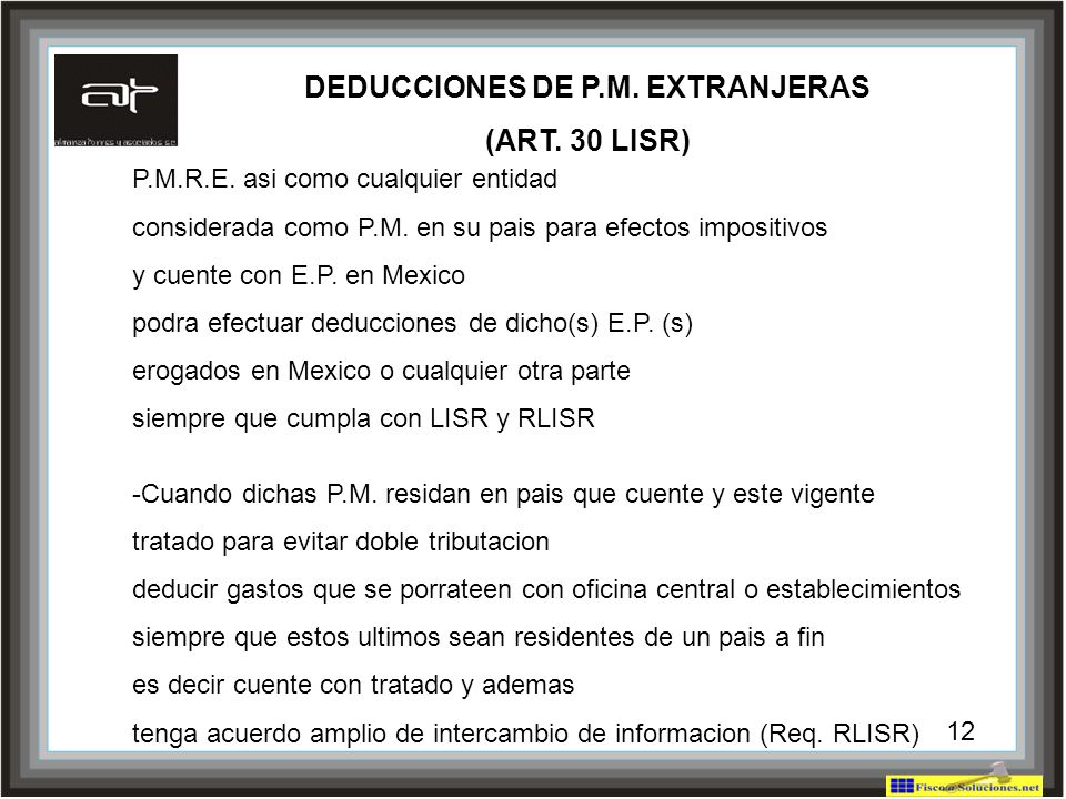 DEDUCCIONES DE P.M. EXTRANJERAS
