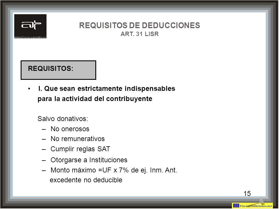 REQUISITOS DE DEDUCCIONES ART. 31 LISR