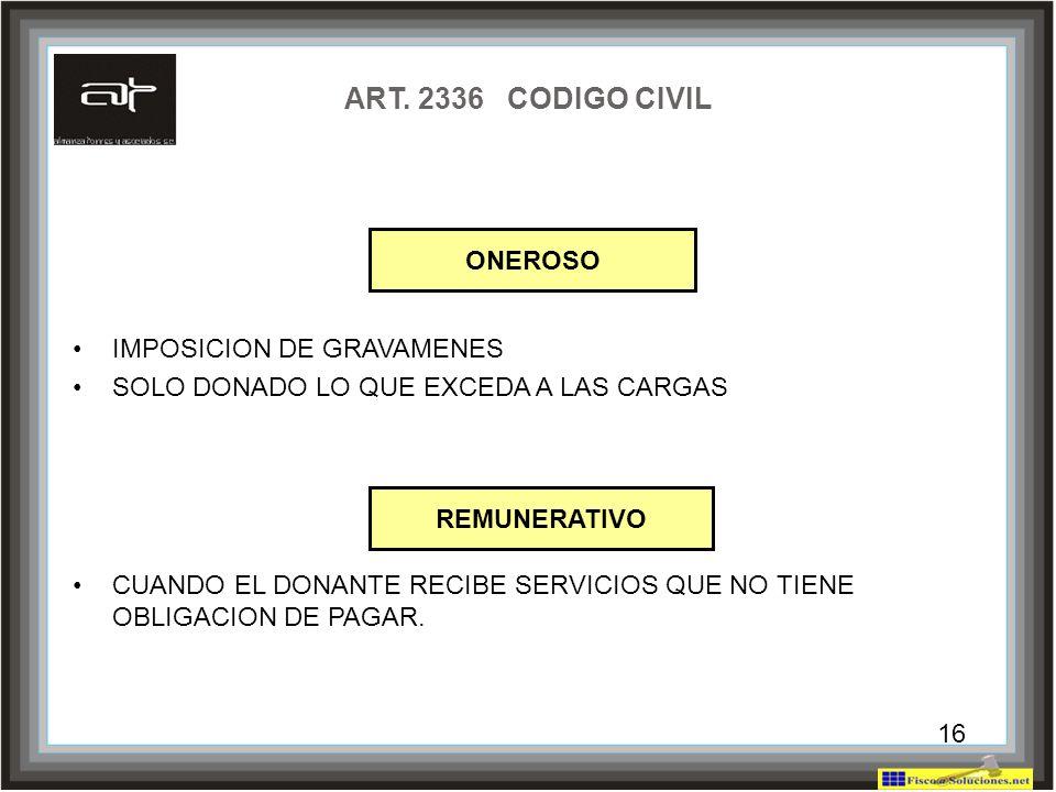 ART. 2336 CODIGO CIVIL ONEROSO IMPOSICION DE GRAVAMENES