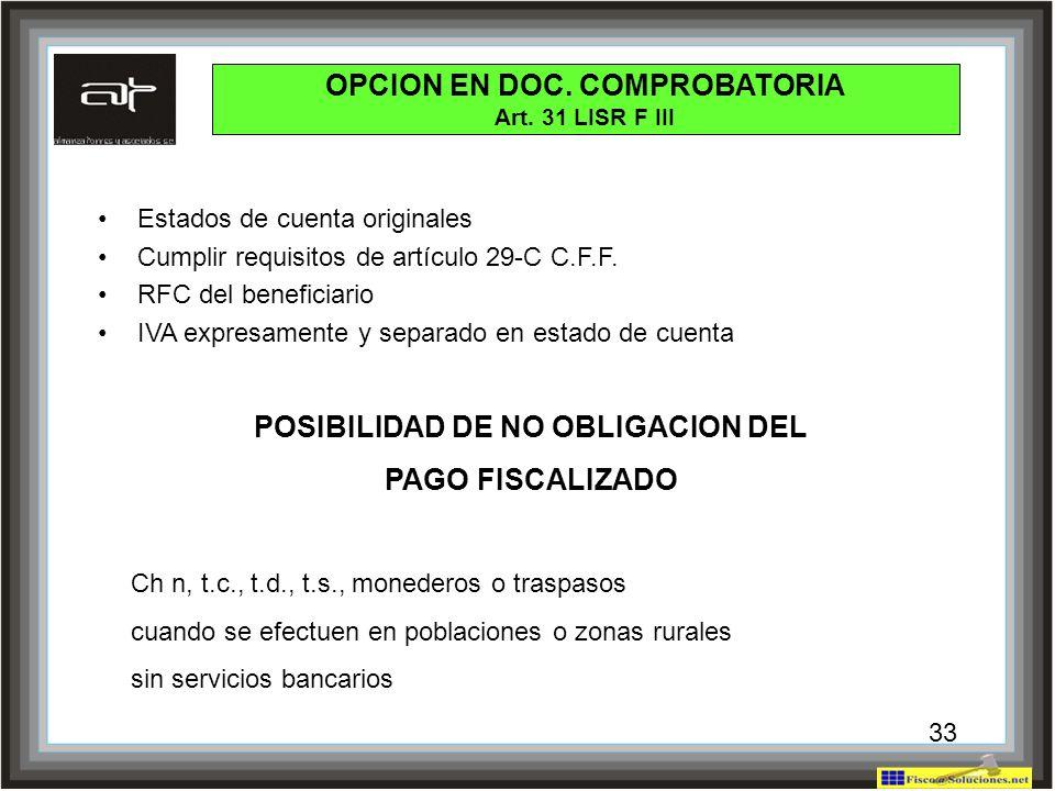 OPCION EN DOC. COMPROBATORIA POSIBILIDAD DE NO OBLIGACION DEL