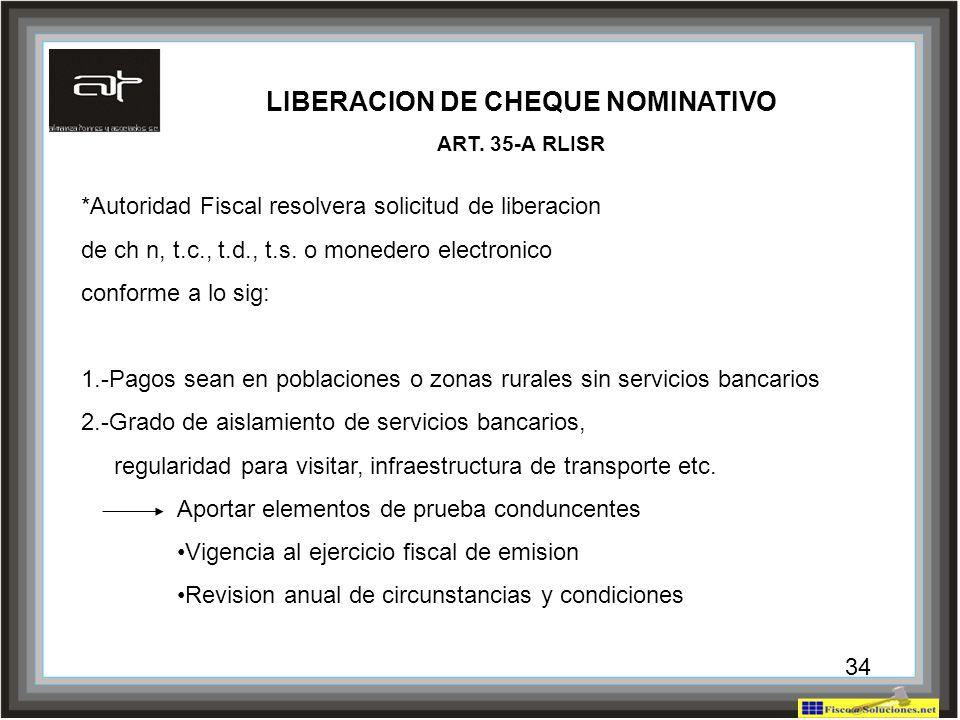 LIBERACION DE CHEQUE NOMINATIVO