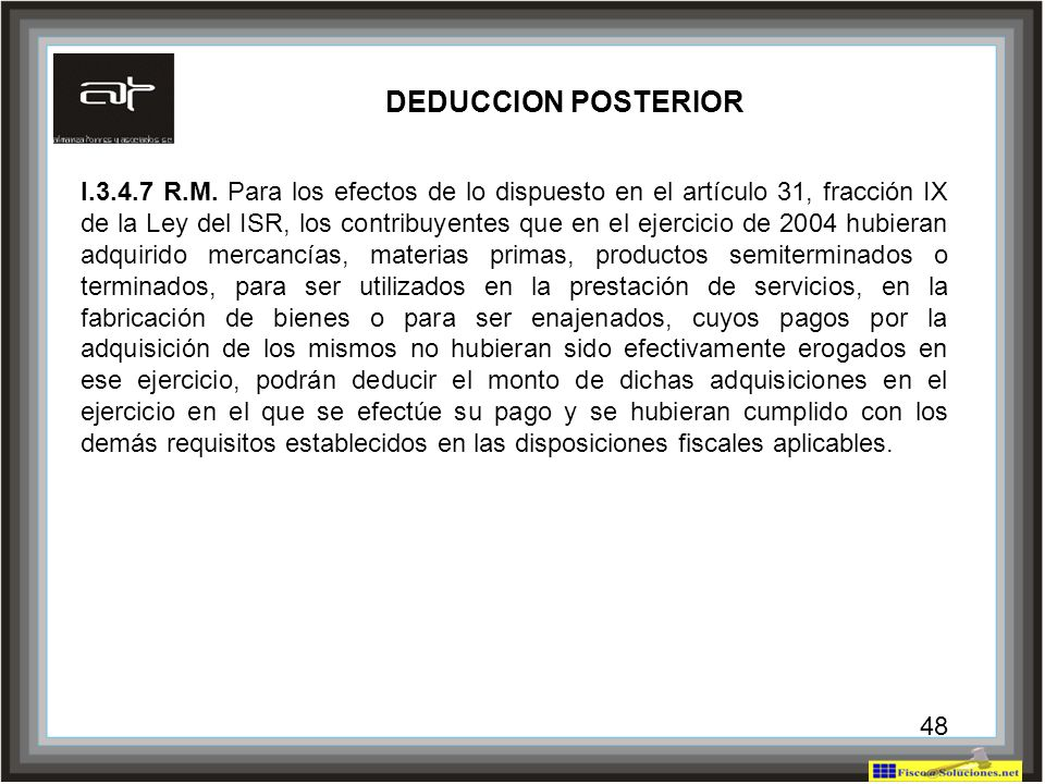DEDUCCION POSTERIOR