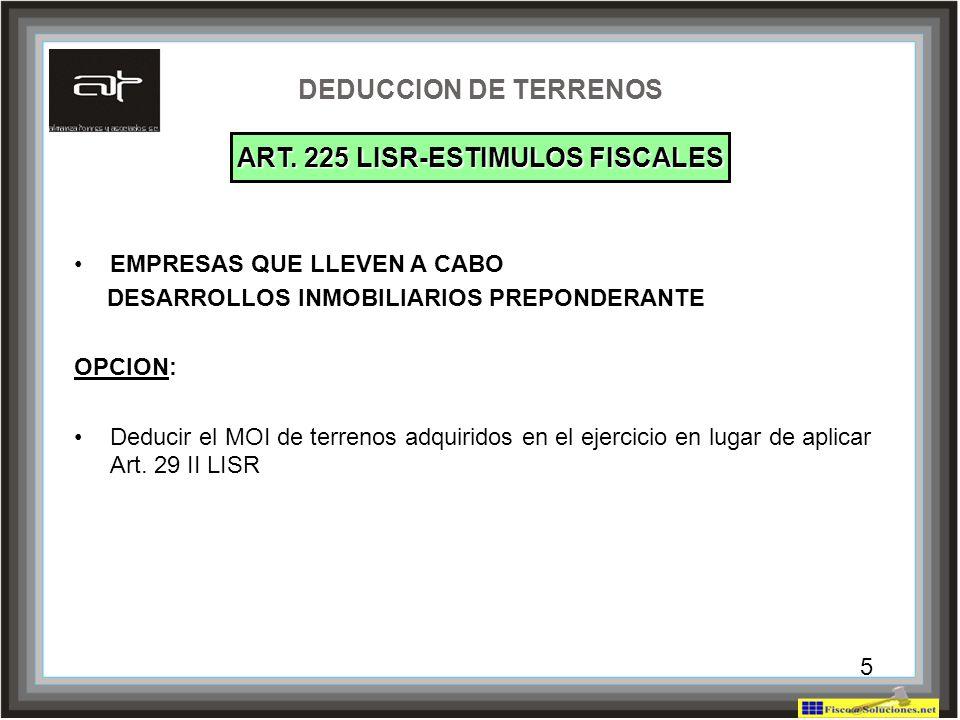 ART. 225 LISR-ESTIMULOS FISCALES