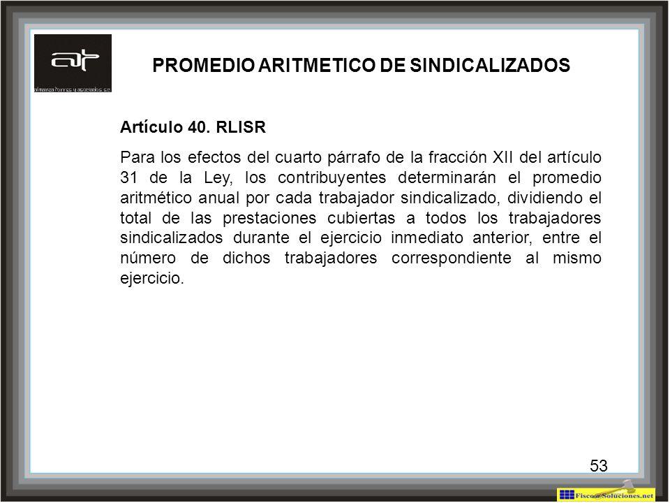 PROMEDIO ARITMETICO DE SINDICALIZADOS