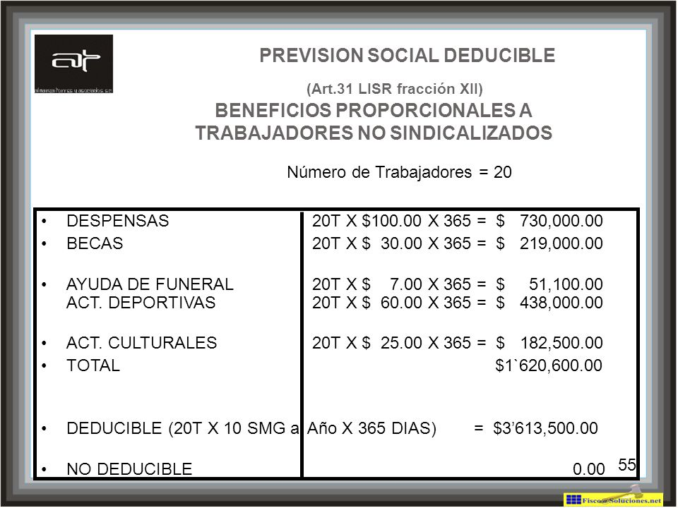 PREVISION SOCIAL DEDUCIBLE (Art