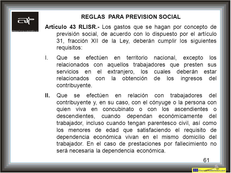 REGLAS PARA PREVISION SOCIAL
