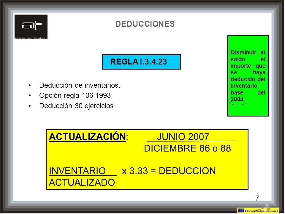 REGLA I.3.4.23 ACTUALIZACIÓN: JUNIO 2007 DICIEMBRE 86 o 88