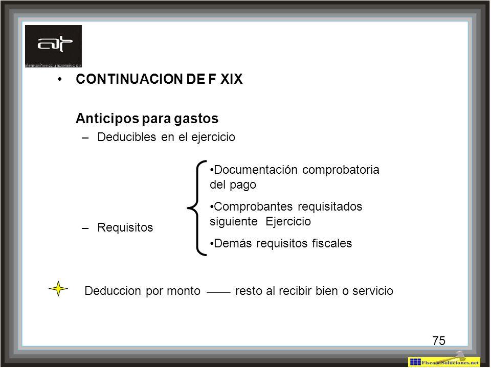 CONTINUACION DE F XIX Anticipos para gastos Deducibles en el ejercicio