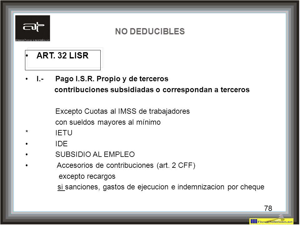 NO DEDUCIBLES ART. 32 LISR I.- Pago I.S.R. Propio y de terceros