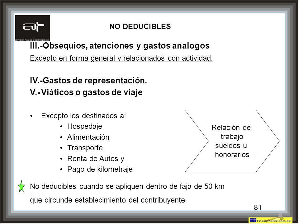 III.-Obsequios, atenciones y gastos analogos