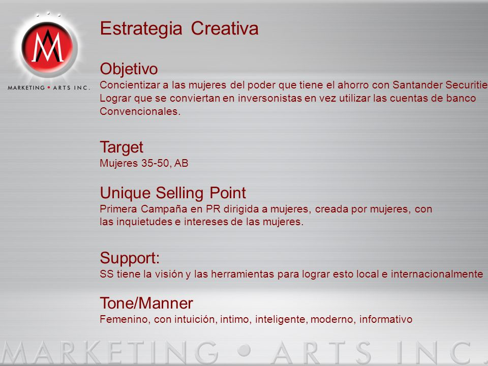 Estrategia Creativa Objetivo Target Unique Selling Point Support:
