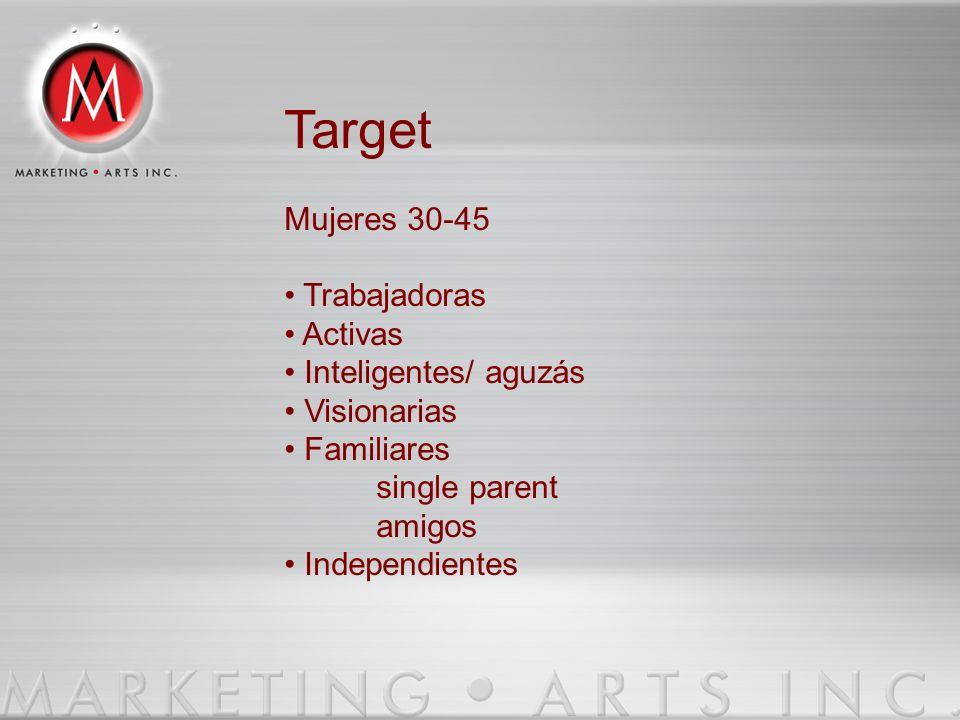 Target Mujeres 30-45 • Trabajadoras • Activas • Inteligentes/ aguzás