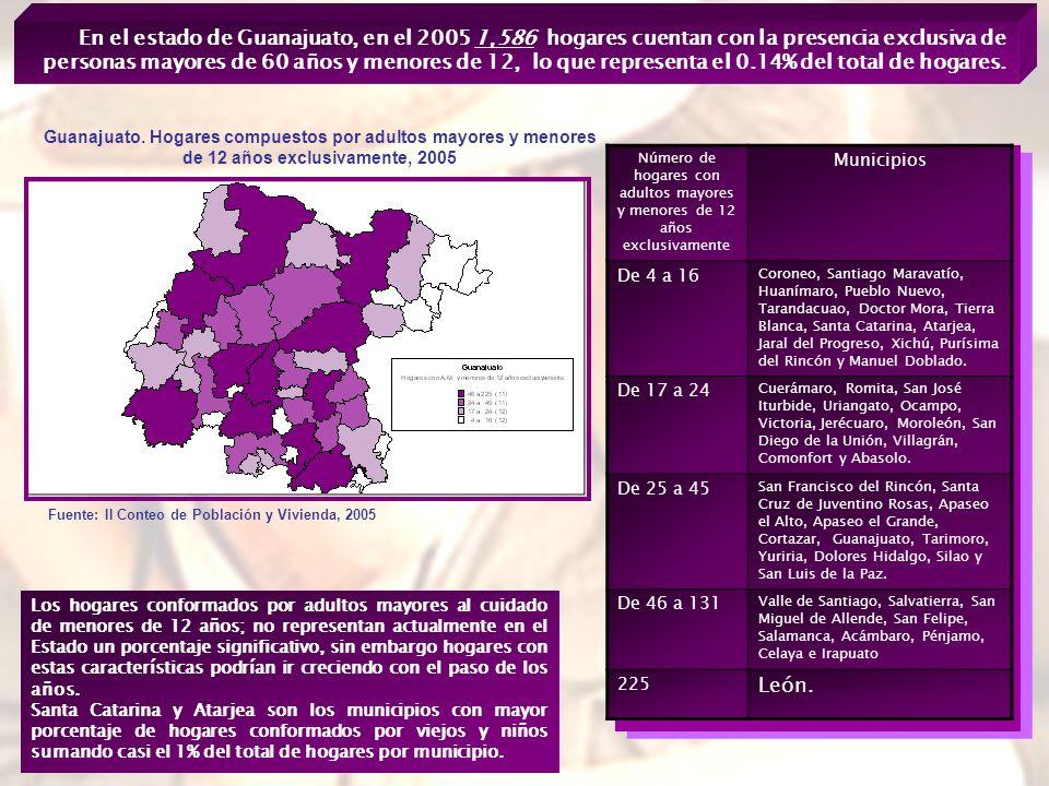 En el estado de Guanajuato, en el 2005 1,586 hogares cuentan con la presencia exclusiva de personas mayores de 60 años y menores de 12, lo que representa el 0.14% del total de hogares.