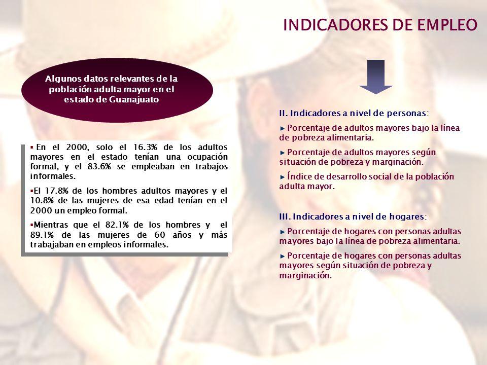 INDICADORES DE EMPLEO Algunos datos relevantes de la población adulta mayor en el estado de Guanajuato.