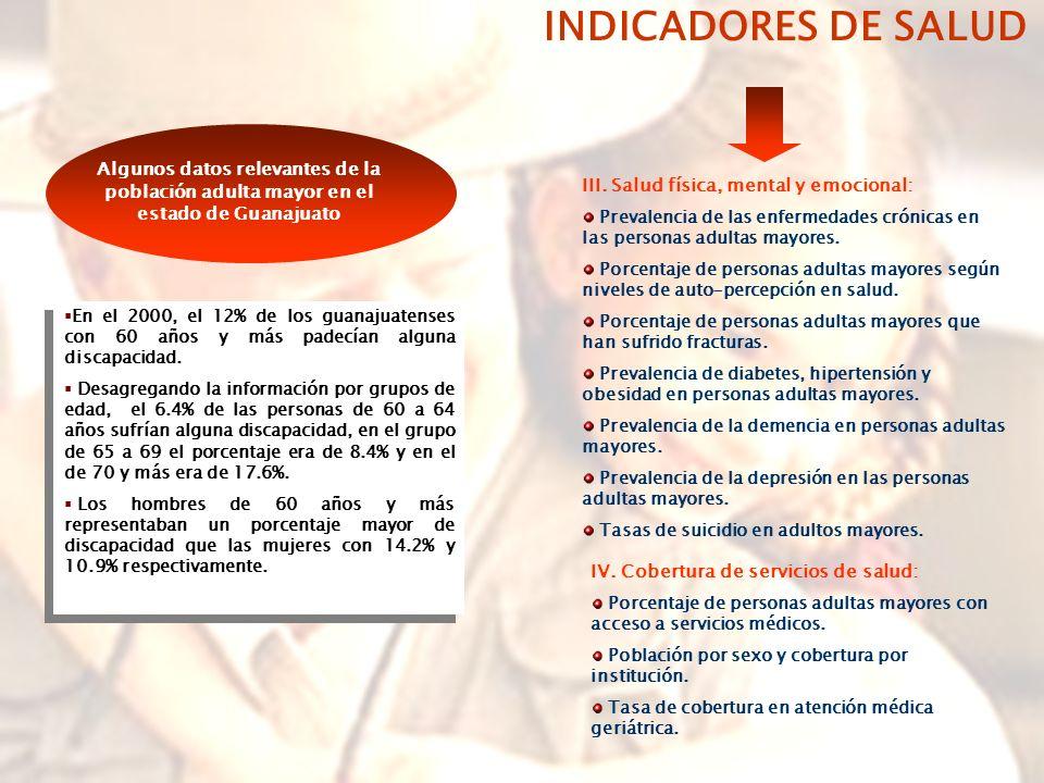 INDICADORES DE SALUD Algunos datos relevantes de la población adulta mayor en el estado de Guanajuato.