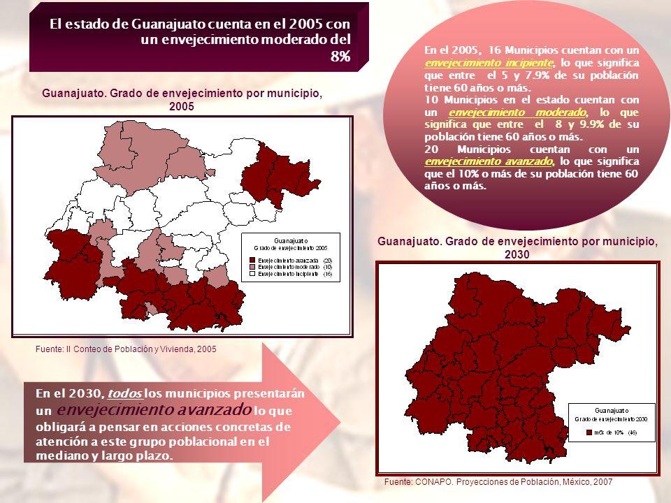 El estado de Guanajuato cuenta en el 2005 con un envejecimiento moderado del