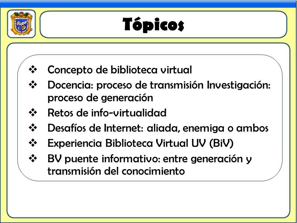 Tópicos Concepto de biblioteca virtual