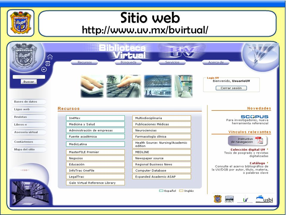 Sitio web http://www.uv.mx/bvirtual/