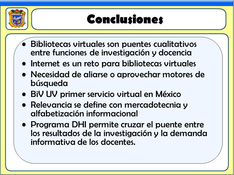 Conclusiones Bibliotecas virtuales son puentes cualitativos entre funciones de investigación y docencia.
