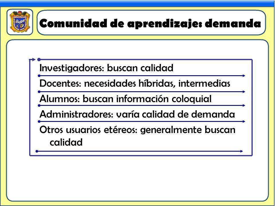 Comunidad de aprendizaje: demanda