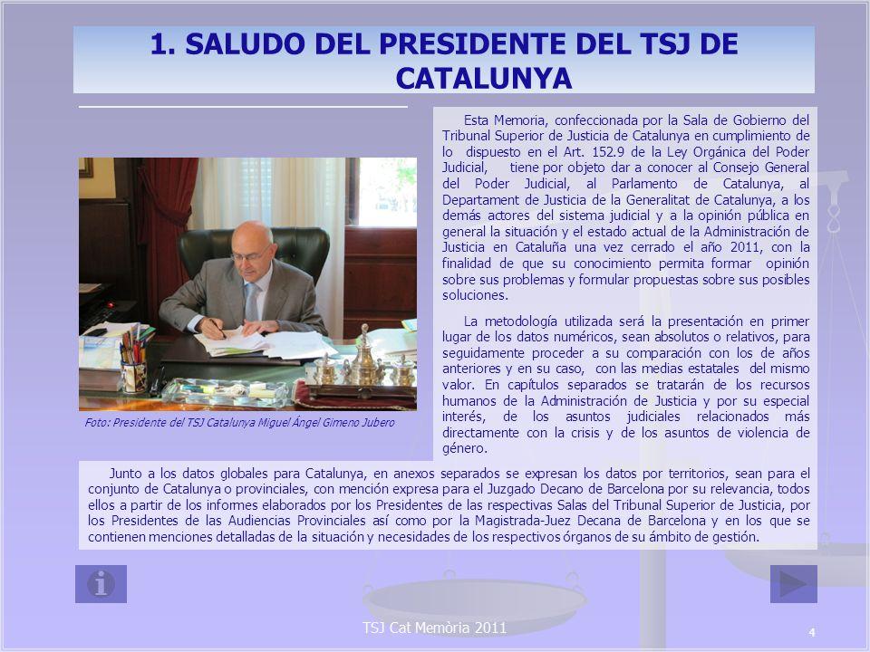 1. SALUDO DEL PRESIDENTE DEL TSJ DE CATALUNYA