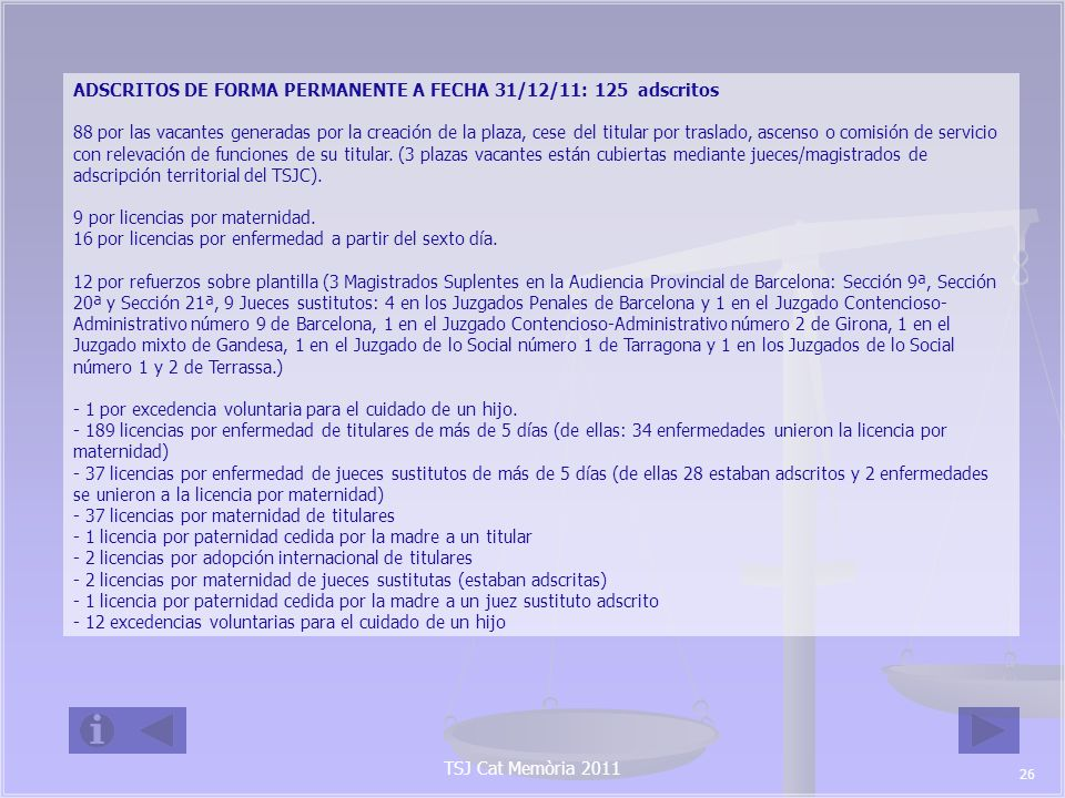 ADSCRITOS DE FORMA PERMANENTE A FECHA 31/12/11: 125 adscritos