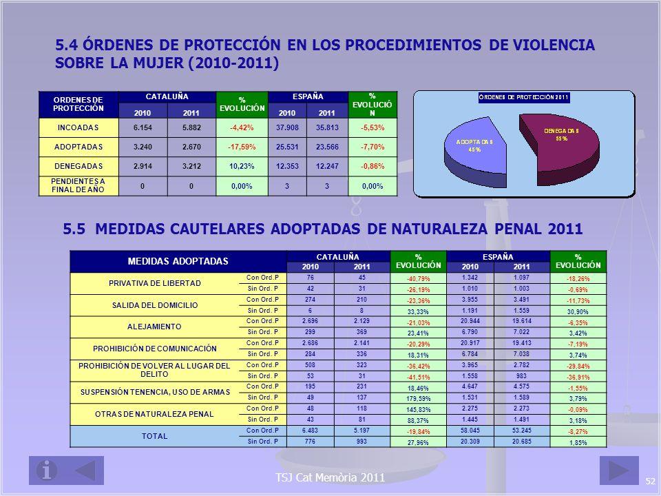 5.5 MEDIDAS CAUTELARES ADOPTADAS DE NATURALEZA PENAL 2011