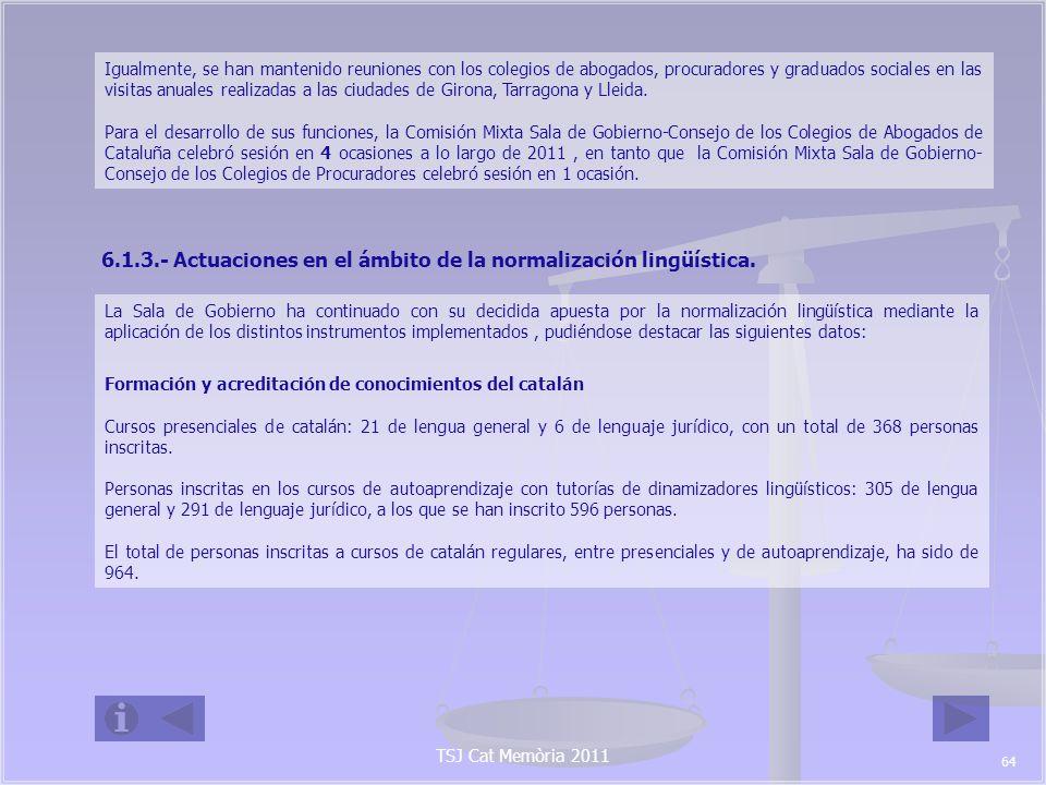 6.1.3.- Actuaciones en el ámbito de la normalización lingüística.