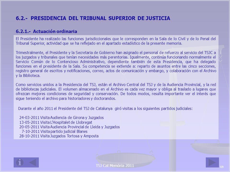 6.2.- PRESIDENCIA DEL TRIBUNAL SUPERIOR DE JUSTICIA