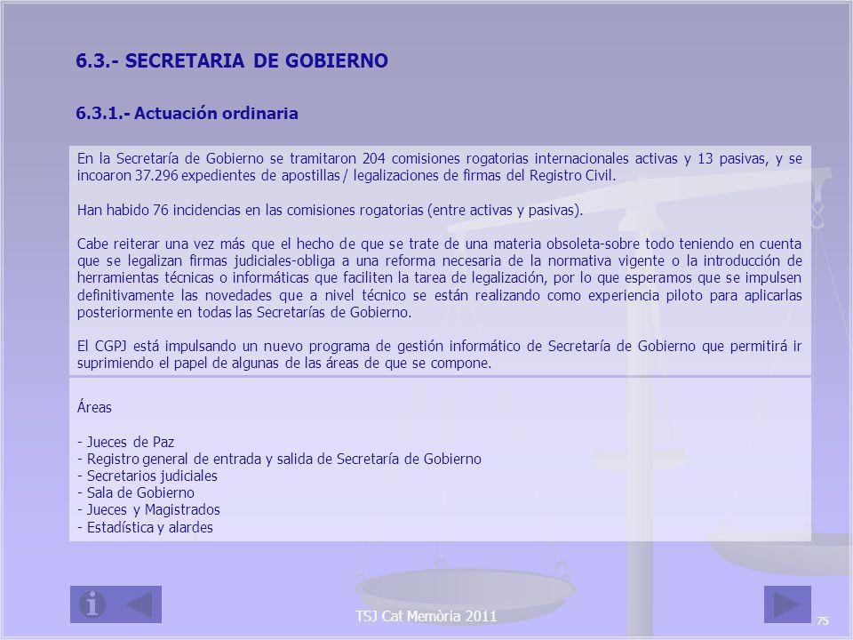 6.3.- SECRETARIA DE GOBIERNO